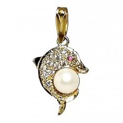 Colgante oro 18k delfín circonita rubi perla [247]