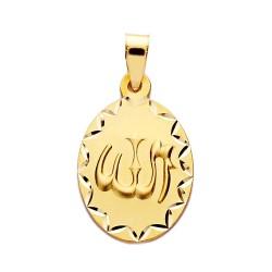 Medalla oro 18k ALLAH ES GRANDE 23mm. oval [AA2556]