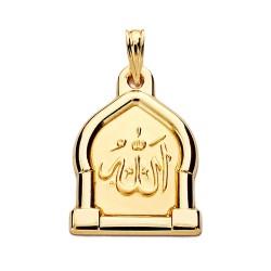 Medalla oro 18k ALLAH ES GRANDE 24mm. [AA2663]