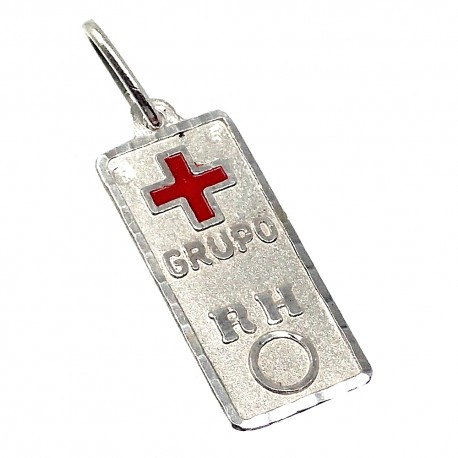 Chapa plata Ley 925m cruz roja 19mm. grupo sanguíneo [AB5542GR]