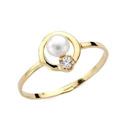 Sortija oro 9k perla circonita banda redonda comunión [AA7521]