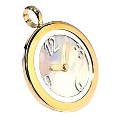 Colgante plata ley 925m 30mm. reloj piedra nácar láser [AA8496]