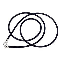 Cordón caucho terminaciones plata Ley 925m unisex 45cm. cierre reasa