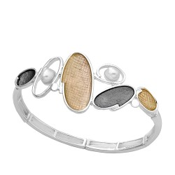 Pulsera ANTONELLI CRUISE bronce extensible perlas y ovales [AB1911]