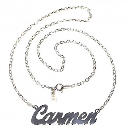 Gargantilla plata Ley 925m mujer nombre Carmen liso cadena 43cm. cierre reasa