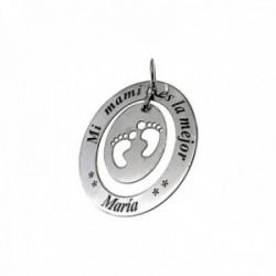 Colgante plata Ley 925m liso oval 34mm MI MAMI ES LA MEJOR nombre personalizado huellas cerco calado