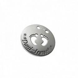 Colgante plata Ley 925m liso 34mm. pies huellas calado nombre fecha personalizado oxidado