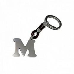 Llavero plata Ley 925m cuero oscuro letra lisa inicial personalizada argolla doble níquel