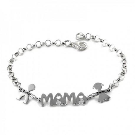 Pulsera plata Ley 925m cadena rolo 19cm centro MAMÁ laterales niños nombres personalizados mosquetón