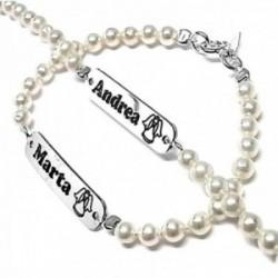 Pulsera plata Ley 925m perlas imitación centro chapa 30mm. personalizada cierre reasa