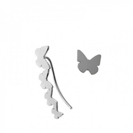 Pendientes plata Ley 925m. mariposas lisas presión lóbulo derecho 9mm trepador 23mm lóbulo izquierdo