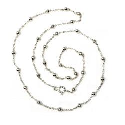 Cadena plata ley 925m 50cm. combinada bolitas unisex cierre reasa
