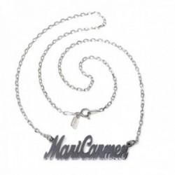 Gargantilla plata Ley 925m mujer nombre Mari Carmen liso cadena 44cm. cierre reasa