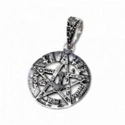Colgante plata Ley 925m tetragramatón 16mm. amuleto unisex calado centro estrella