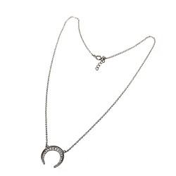 Gargantilla plata Ley 925m mujer cadena 45cm. rolo luna invertida cuernos centro circonitas reasa