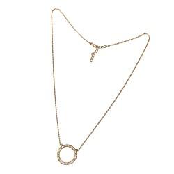 Gargantilla plata Ley 925m mujer cadena 45cm. dorada centro Karma círculo calado circonitas reasa