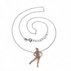 Gargantilla plata Ley 925m bicolor 40cm gimnasta perla sintética pelota rosado plateado cierre reasa