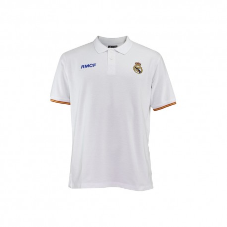 Polo Real Madrid junior blanco escudo bordado