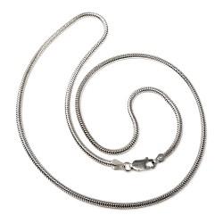 Cadena plata ley 925m lisa 50cm. topo verdadera unisex cierre mosquetón