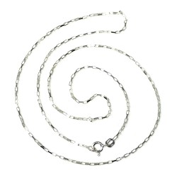 Cadena plata ley 925m lisa 50cm forzada alargada unisex cierre reasa