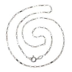 Cadena plata Ley 925m 45 cm. forzada rectángulos planos unisex cierre reasa