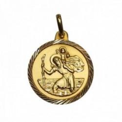 Medalla oro 18k San Cristóbal 24mm. borde labrado imagen santo patrón viajeros y conductores