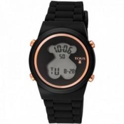 Reloj Tous mujer Digital D-Bear 700350320 acero IP rosado detalles esfera oso correa silicona negra