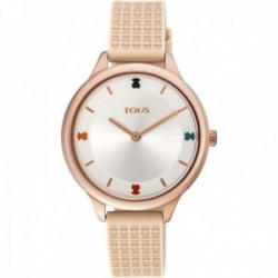 Reloj Tous mujer Tartan 900350115 acero IP rosado correa detalles osos nude silicona