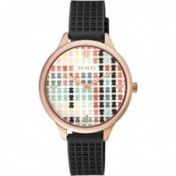 Reloj Tous mujer Tartan multicolor 900350135 acero IP rosado correa detalles osos silicona negra