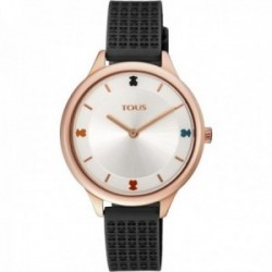 Reloj Tous mujer Tartan 900350125 acero IP rosado correa detalles osos silicona negra