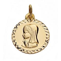 Medalla oro 18k Virgen Nina cerco tallado 16mm. [7482]