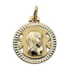 Medalla oro 18k Virgen Niña redonda calada 18mm. [7697]