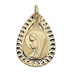 Medalla oro 18k Virgen Niña 20mm. lágrima bisel [9015]