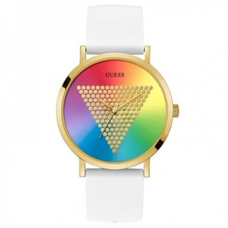 Reloj Guess mujer Watches Ladies Imprint W1161G5 blanco esfera multicolor detalle triángulo dorado
