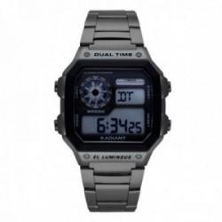 Reloj Radiant hombre Zuri RA505202 gris acero inoxidable digital multifunción