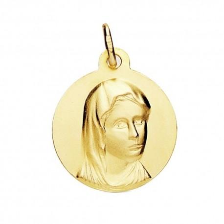 Medalla oro 18k María Francesa 16mm. [AB3717]