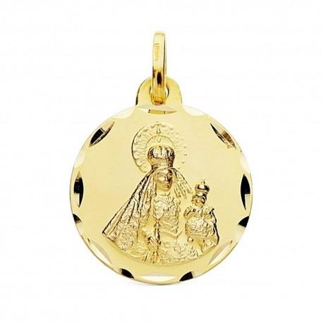 Medalla oro 18k Virgen Rosario 18mm cerco tallado. [AB3824]