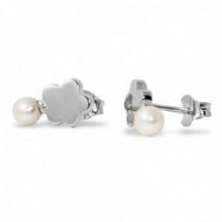 6035411061d1 Pendientes plata Ley 925m Agatha Ruiz de la Prada colección Tops nube lisa  perla cierre presión