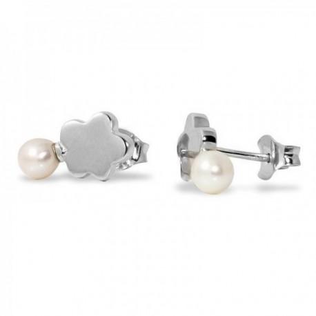 Pendientes plata Ley 925m Agatha Ruiz de la Prada colección Tops nube lisa perla cierre presión