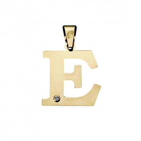 Colgante oro 18k inicial 23mm. letra E unisex lisa plana detalle circonita