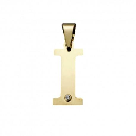 Colgante oro 18k inicial 23mm. letra I unisex lisa plana detalle circonita