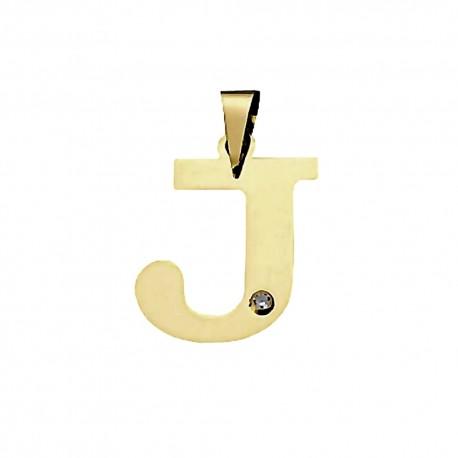 Colgante oro 18k inicial 23mm. letra J unisex lisa plana detalle circonita