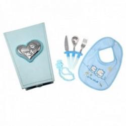 Juego bebé cubiertos babero portachupe caja detalle plata Ley 925m azul placa corazón ángeles