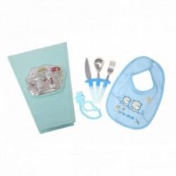 Juego bebé cubiertos babero portachupe caja detalle plata Ley 925m azul placa muñequitos