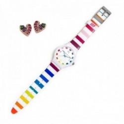 Juego Agatha Ruiz de la Prada reloj AGR242 rayas colores pendientes plata Ley 925m rosados corazón