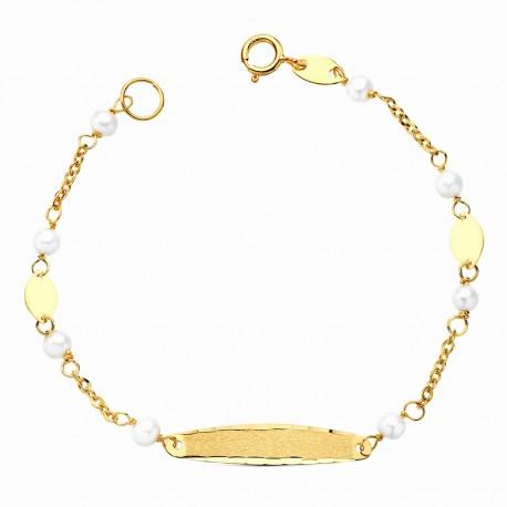 Esclava oro 18k perlas 13.5cm. [AA0171]