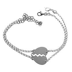 Dos pulseras plata Ley 925m rolo 17cm. corazón partido cierre mosquetón mujer