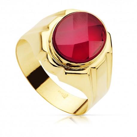 Sello oro 18k caballeropiedra roja oval hueco [7504]