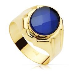 Sello oro 18k caballero piedra espinela azul oval hueco