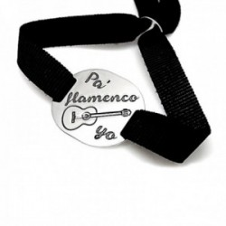Pulsera plata Ley 925m chapa PA FLAMENCO YO guitarra lazo liso negro cierre adapatador plata